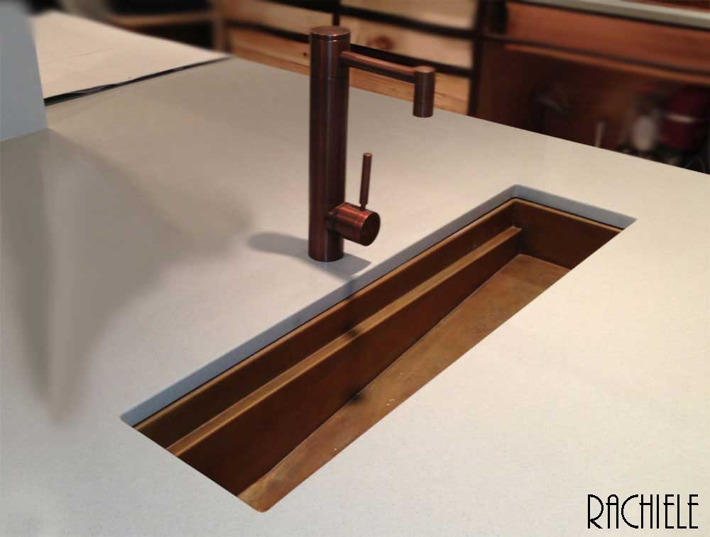 Copper workstation trough sink sloped bottom