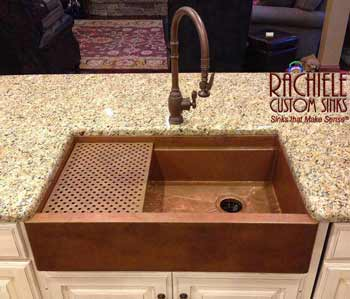 custom copper farmhouse apron front sink