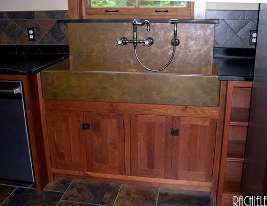 Copper Farm Sink With Backsplash