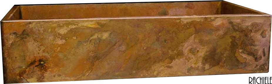 copper farmhouse sink with patina