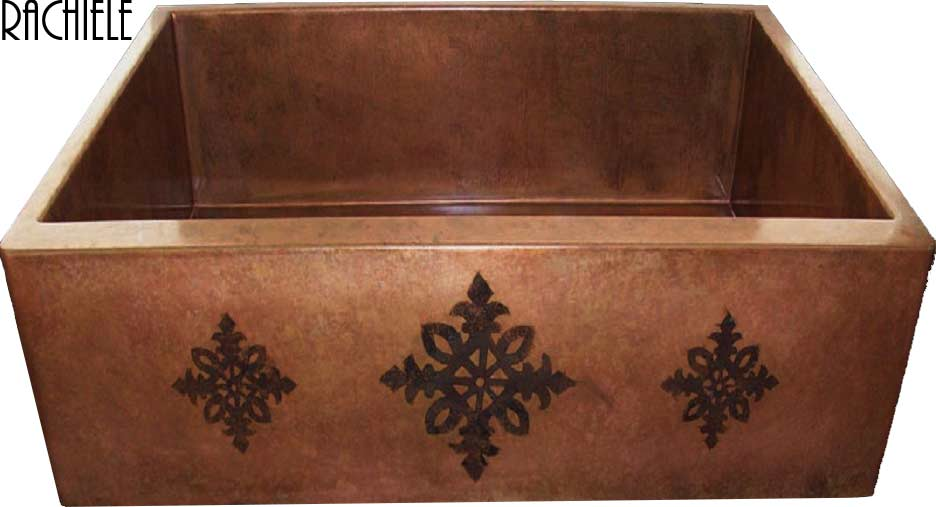 copper farmhouse apron sink with stencil on apron
