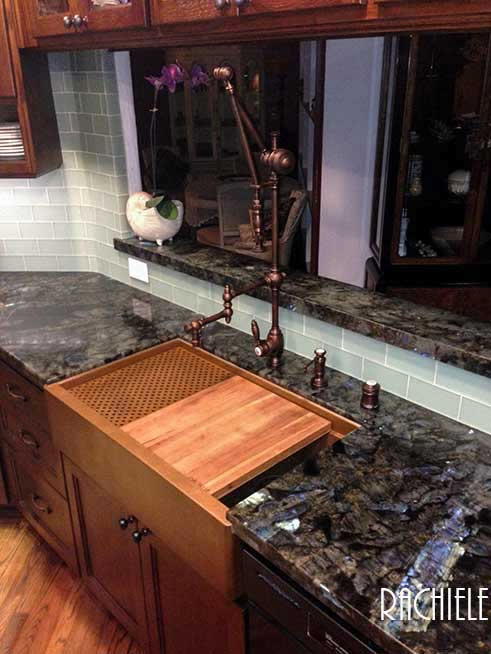 Signature Series Apron Front Copper Sink With Removable Cherry Cutting  Board And Copper Grid. Faucet By Waterstone   Gantry Suite In American  Bronze.