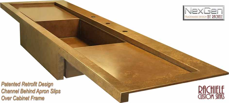 copper sink with drainboards