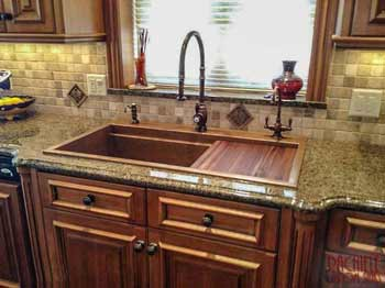 retrofit copper drop in top mount sink