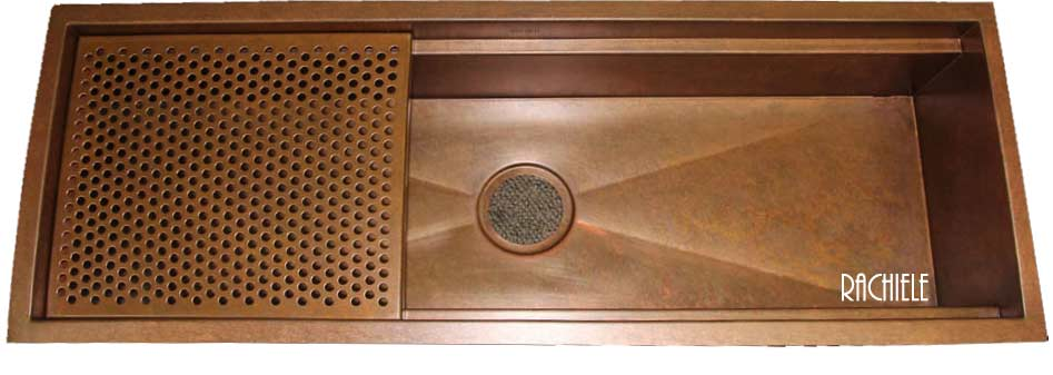 copper trough sink with integrated cutting board