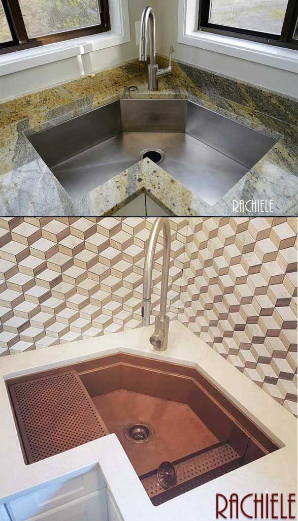 Copper retrofit farmhouse workstation sink