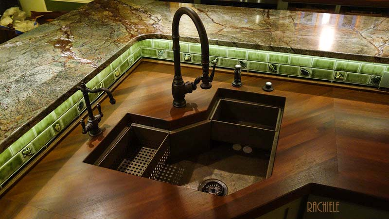 copper corner kitchen sink