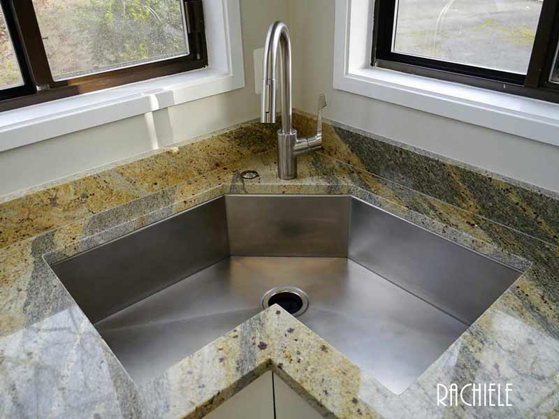 custom stainless steel single bowl corner sink