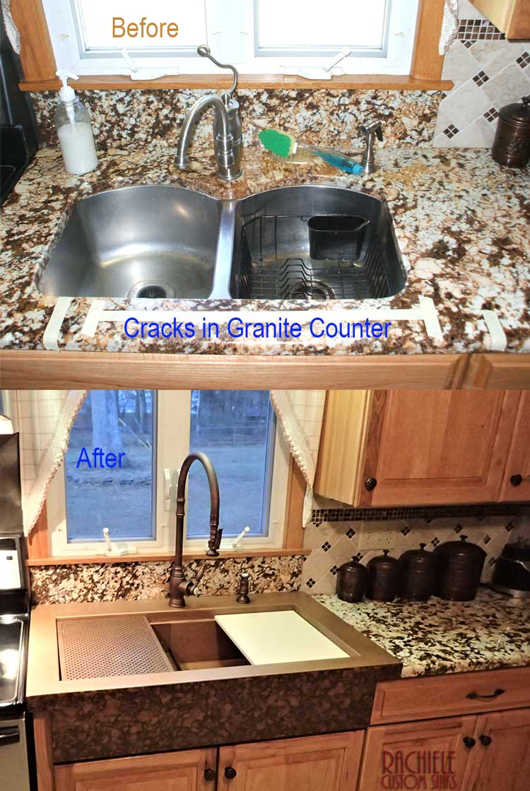 retrofit sink fixes cracked granite counter
