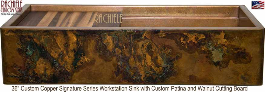 multi color patina on a 36 inch copper sink