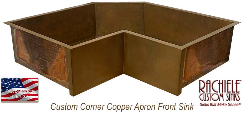 custom corner farm sink in copper