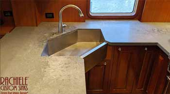 corner stainless sink built for a yacht