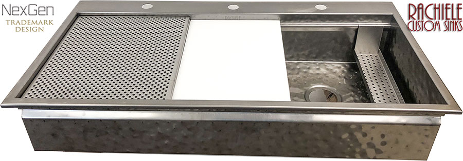 custom hammered stainless steel workstation top mount replacement sink