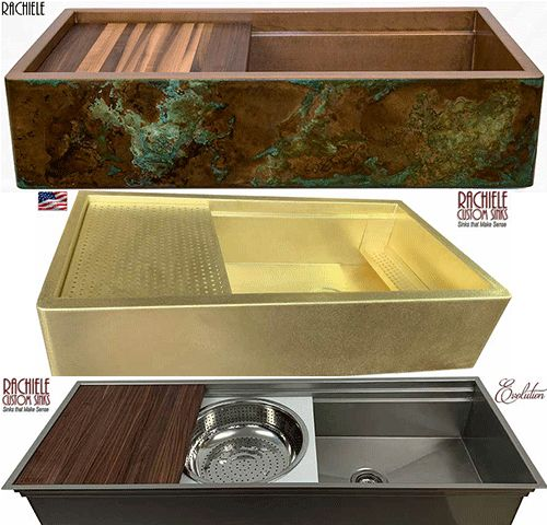 copper brass and stainless custom sinks