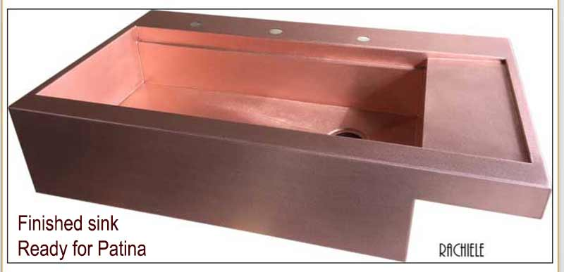 custom copper workstation farm sink with drainboard