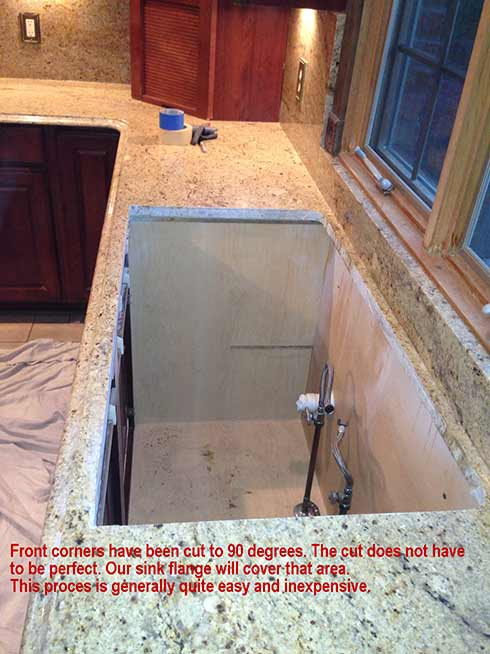 prior to cutting the granite for retrofitting a sink