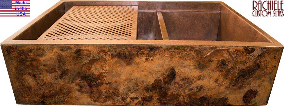 double bowl copper sink with cutting board and drain grid