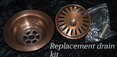 Replacement solid copper kitchen drain