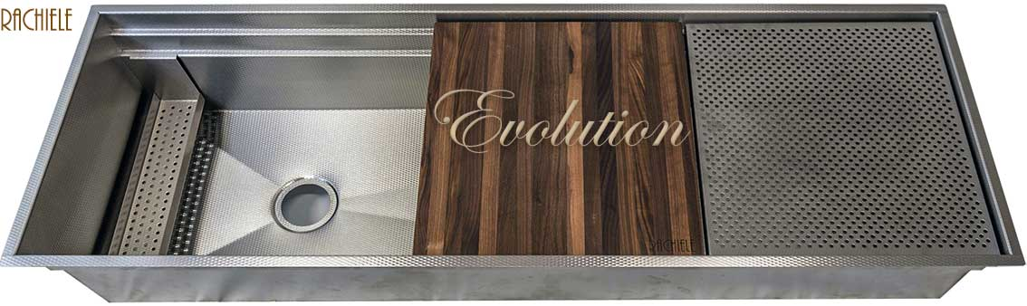 Evolution workstation sink with grid, colander and walnut cutting board