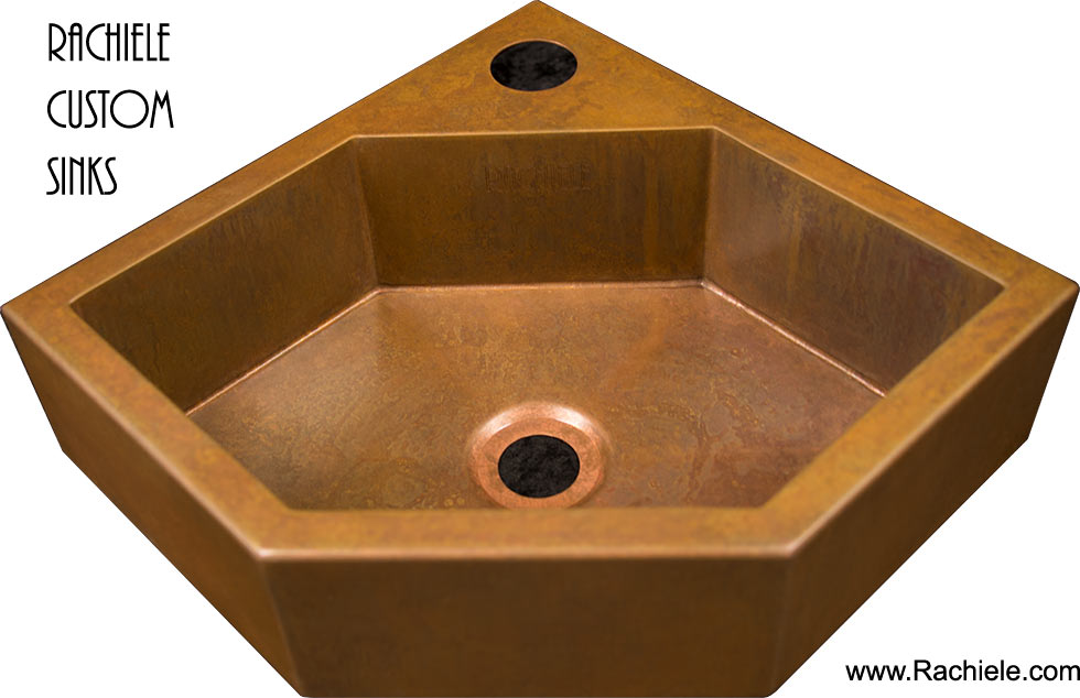 wall hung corner copper lav sink