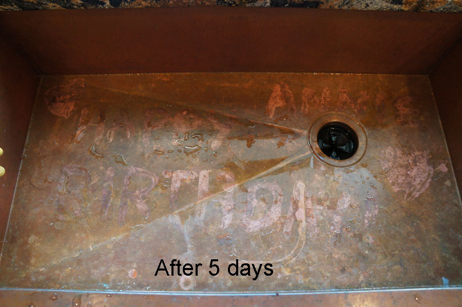 ... Copper Sink Showing Self Healing Interior