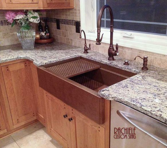 copper farmhouse workstation sink made in the USA