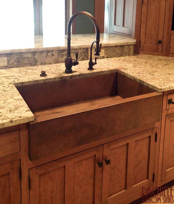 Copper Farm Sink with Rustic Patina and Waterstone faucet suite