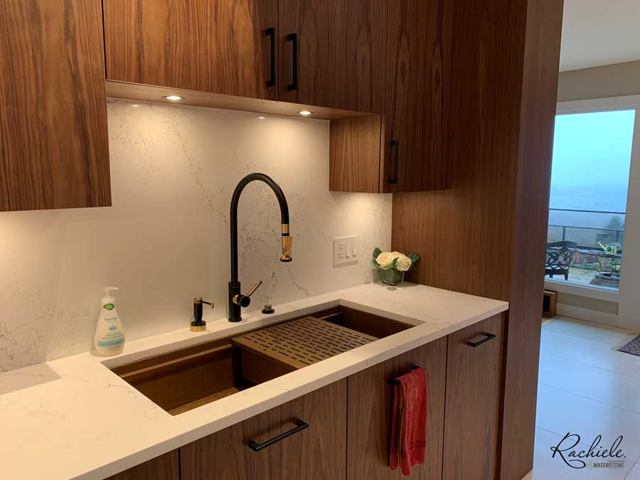 42 inch copper undermount workstation sink and Waterstone faucet suite