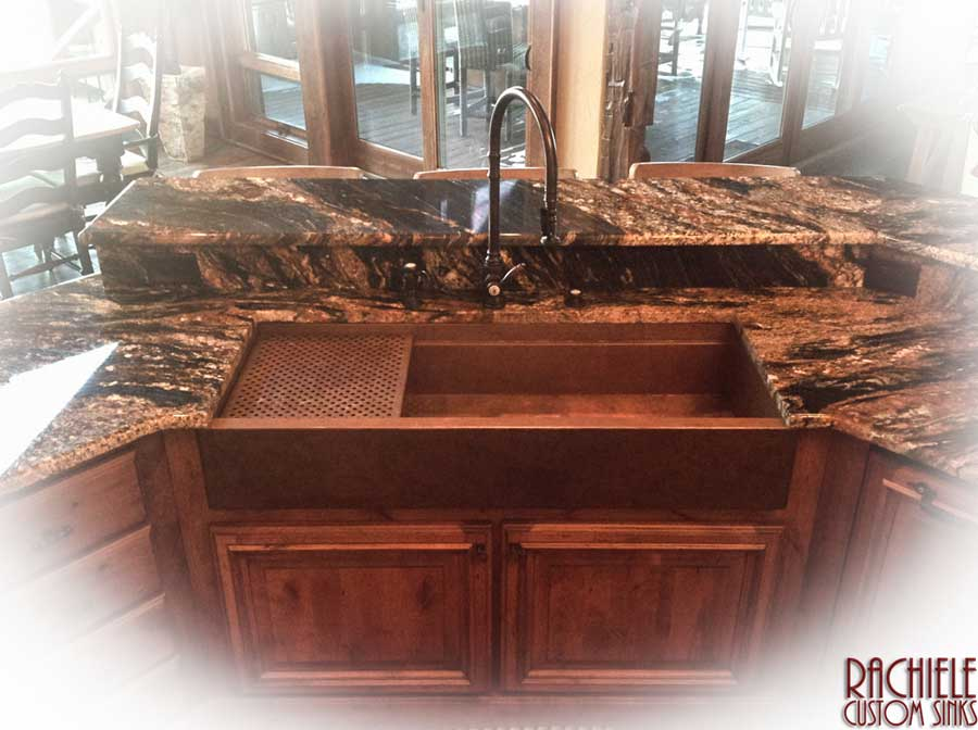 54 inch large copper farmhouse workstation kitchen sink