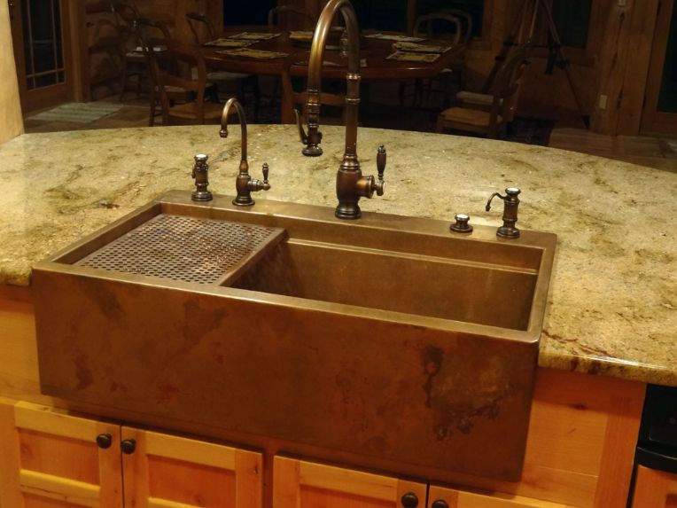 71. Copper top mount sink that replaced an under mount sink in ...