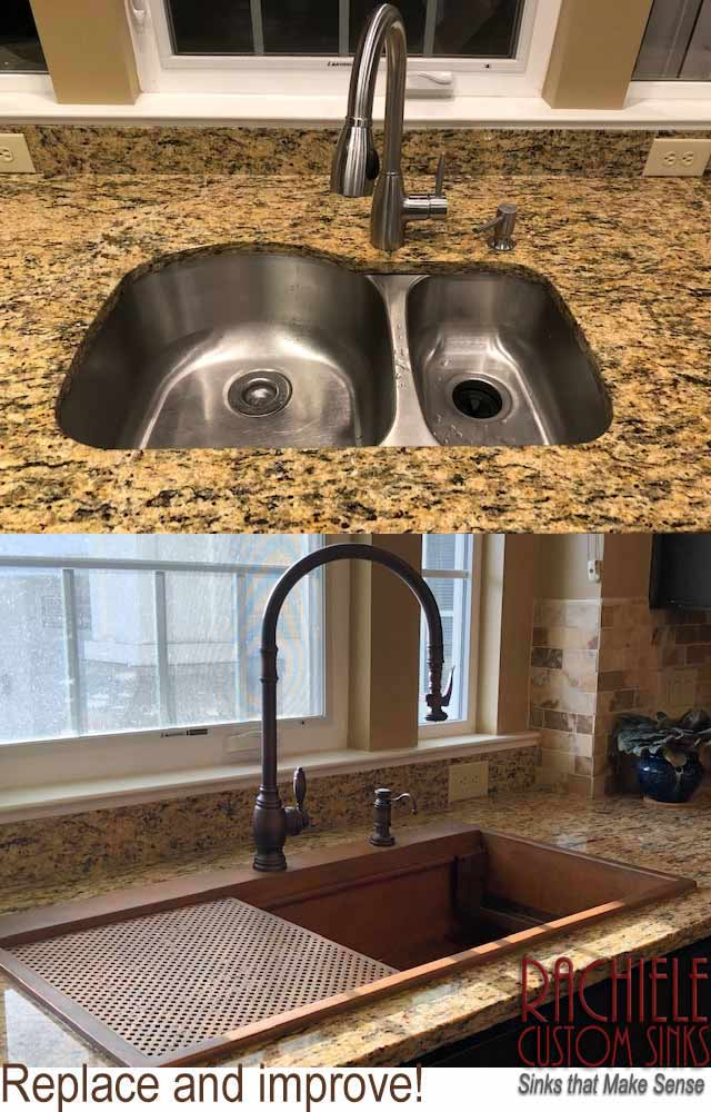 replace double bowl sink with single bowl workstation kitchen sink.