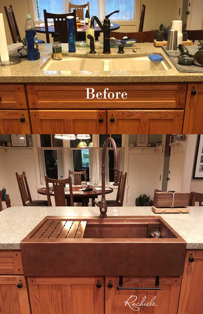 retrofit copper farmhouse sink