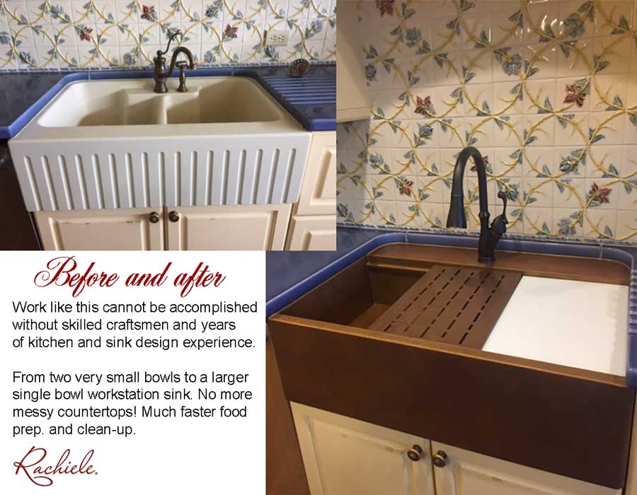 Retrofit farm sink replaces double bowl fireclay sink