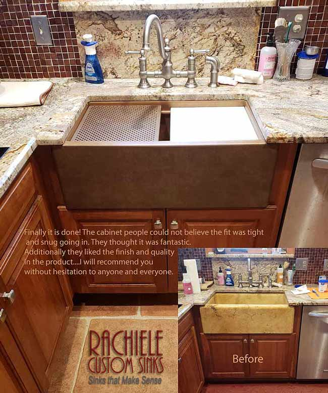 replacing a stone sink with a copper sink