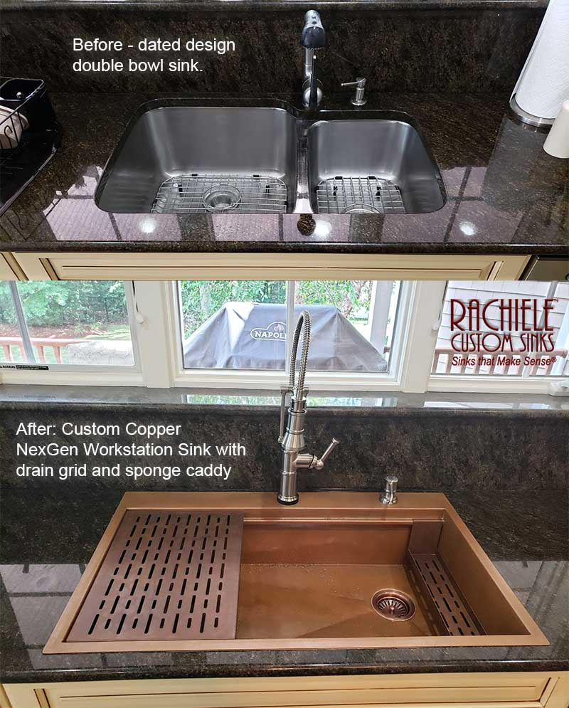 before and after retrofit drop in single bowl copper sink replaces undermount double bowl sink