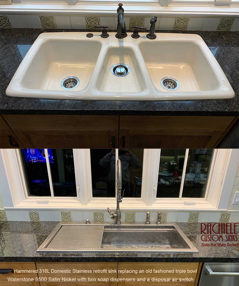 replacement kohler triple bowl sink with single bowl hammered stainless custom sink by rachiele