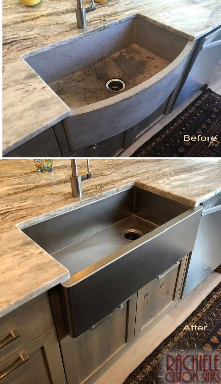 before and after replacing concrete sink with custom stainless sink