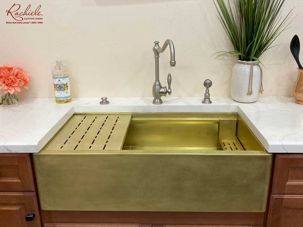 brass farm house sink made in the usa. Brass workstation farm sink