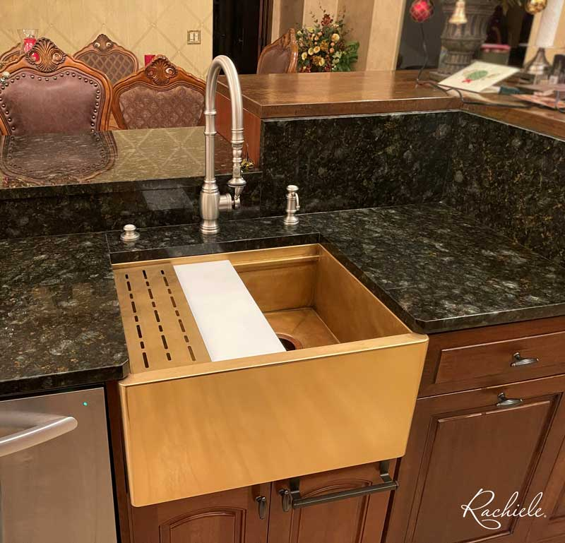 Our Polished Bronze NexGen sink with a burnished bronze interior