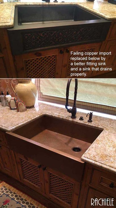 Before and after: Copper sink made in China with all kinds of issues is replaced with a perfectly fitting Rachiele sink