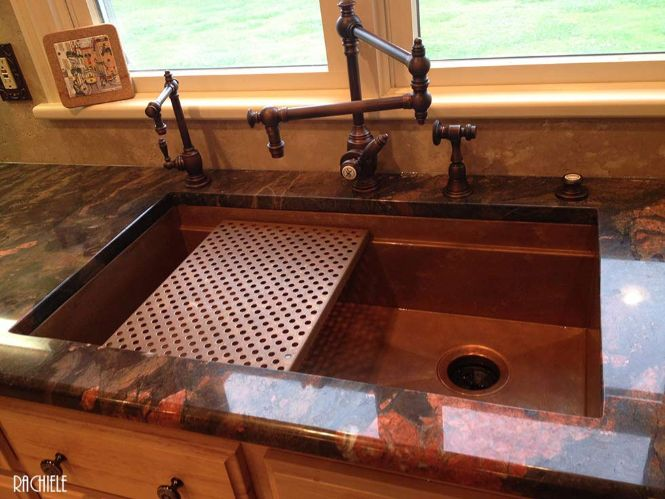copper workstation sink with copper drain grid