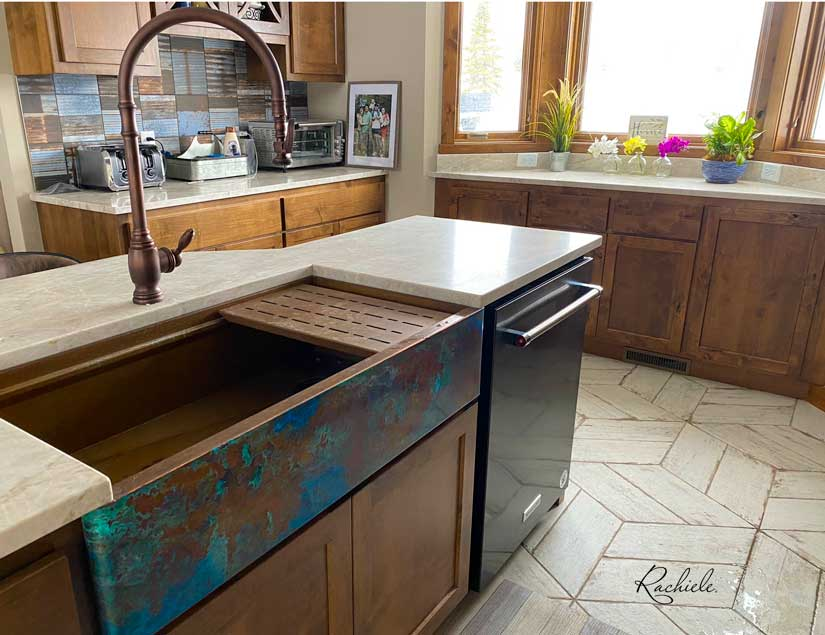 copper farmhouse workstation kitchen sink