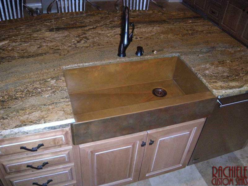 copper farmhouse sink shown from above