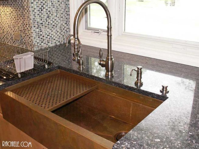 Copper apron farmhouse workstation kitchen sink showing Brushed Nickel Waterstone Faucet