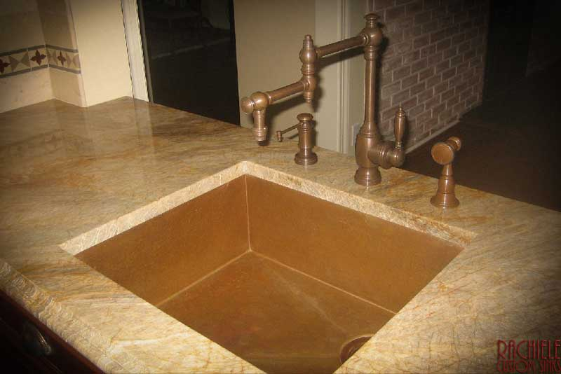 copper under mount sink with rear corner drain