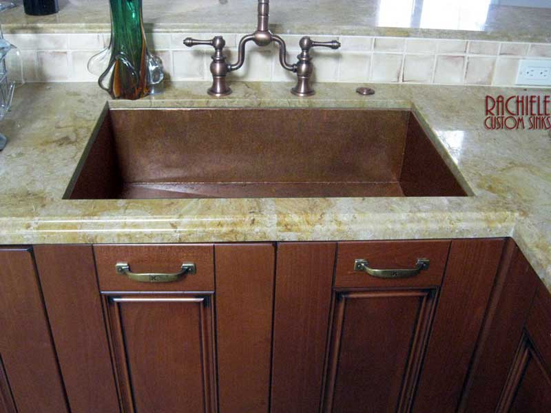 copper under mount sink made in the usa by Rachiele