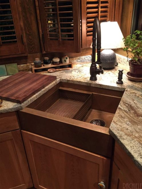 corner farmhouse copper sink