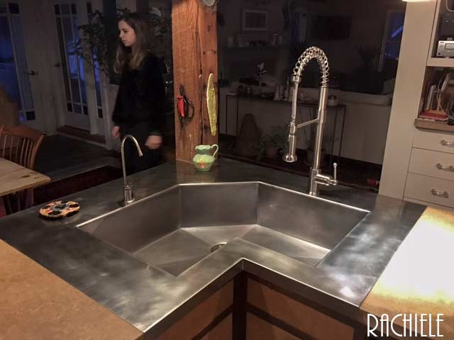 corner custom stainless single bowl sink