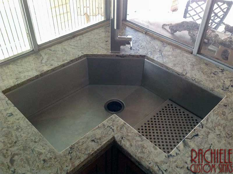 corner single bowl stainless steel sink