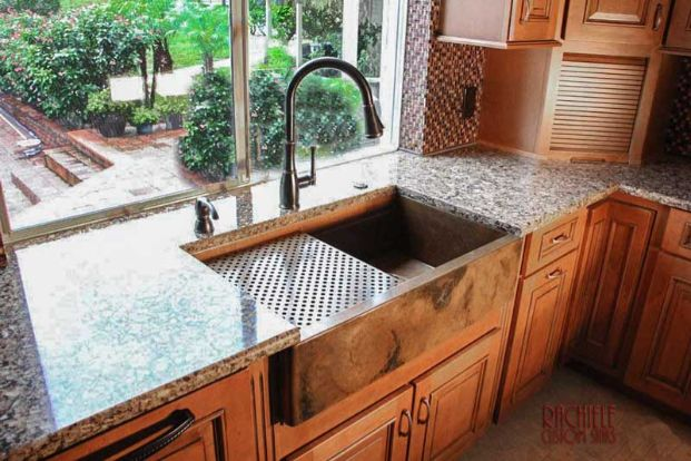 custom copper farmhouse workstation sink